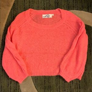 Cute peachy pink Anthropology sweater.